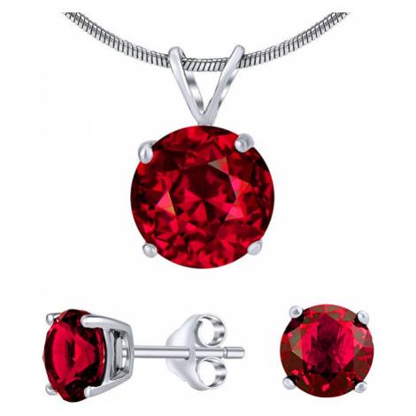 Silvego Strieborný set šperkov s červeným krištáľom JJJS7RR1 (náušnice, prívesok)