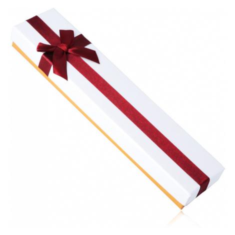 Darčeková krabička na náramok - bielo-bronzová farba, bordová mašľa