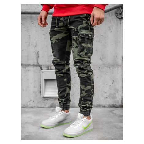 Bledozelené kapsáčové jogger nohavice s maskáčovým vzorom Bolf CT6019