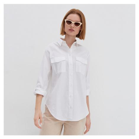 House - Pásikavá oversize košeľa - Biela