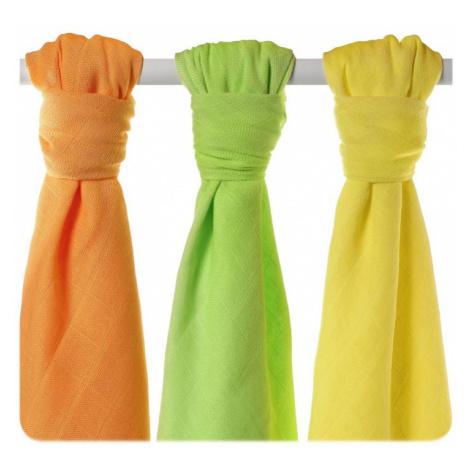 KIKKO Plienky bambusvé Colours 70x70 (3 ks) – lime, lemon, orange