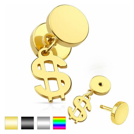 Nepravý plug do ucha z chirurgickej ocele, lesklé kruhy, symbol dolára - Farba piercing: Zlatá
