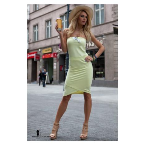 Letné citrónové asymetrické šaty FASARDI