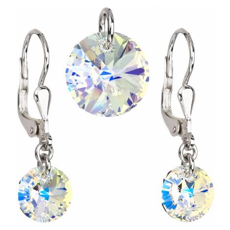 Sada šperkov s krištáľmi Swarovski náušnice a prívesok AB efekt okrúhle 39090.2