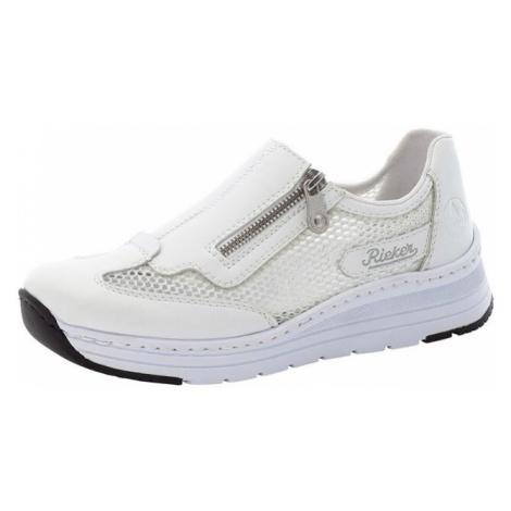 RIEKER Slip-on obuv  strieborná / biela / čierna