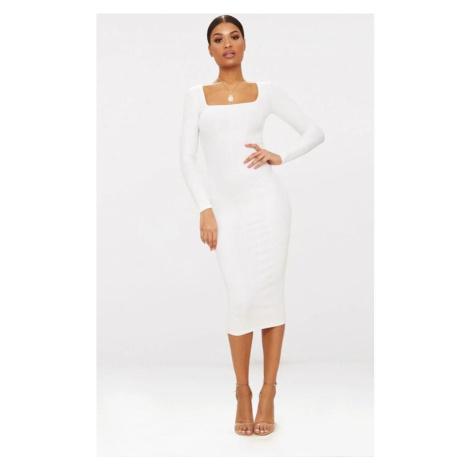 Midaxi šaty s dlhým rukávom PrettyLittleThing