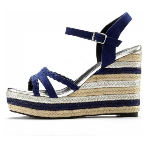 LASCANA Remienkové sandále  svetlobéžová / tmavomodrá / strieborná