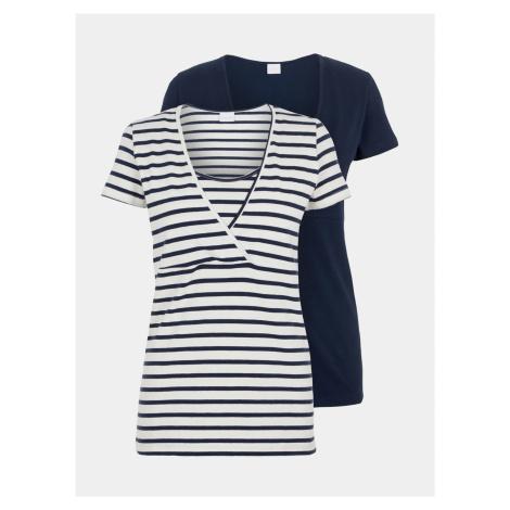 Sada dvou dojčiacich tričiek v bielej a modrej farbe Mama.licious Mama Licious
