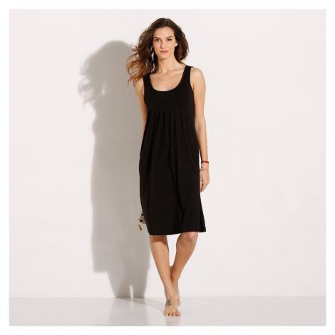 Blancheporte Jednofarebné šaty s okrúhlym výstrihom čierna