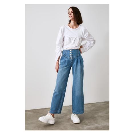 Trendyol High Waist Wide Leg Jeans WITH Blue Front Button Waist DetailING