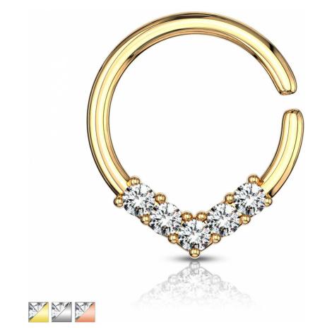 Okrúhly piercing do ucha alebo nosa - ozdobná korunka so zirkónmi, 1 mm - Farba piercing: Zlatá