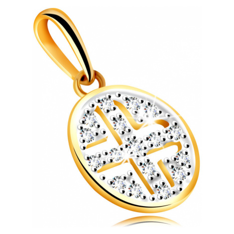 Zlatý prívesok zo žltého 585 zlata - kruh zdobený okrúhlymi zirkónmi, čierne pokovanie