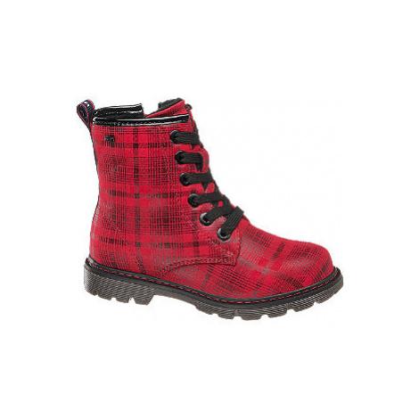 Červená šnurovacia obuv so zipsom Tom Tailor s TEX membránou