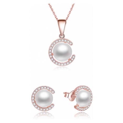Beneto Pozlátená súprava šperkov zo striebra s pravými perlami AGSET285P-ROSE (náhrdelník, náušn