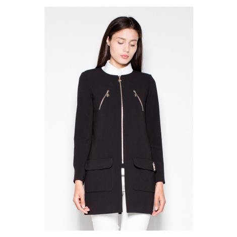 Čierny predĺžený kabátik VT038 Venaton