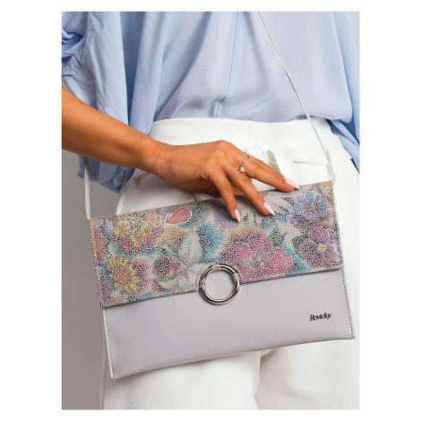 Sivá lakovaná kabelka s kvetinovým vzorom