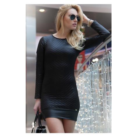 Krátke čierne šaty s dlhým rukávom FASARDI