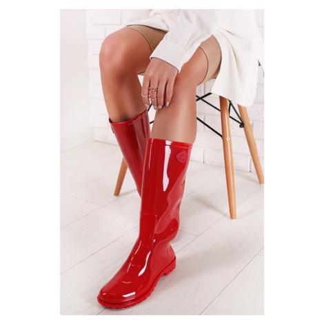 červené dámske gumáky