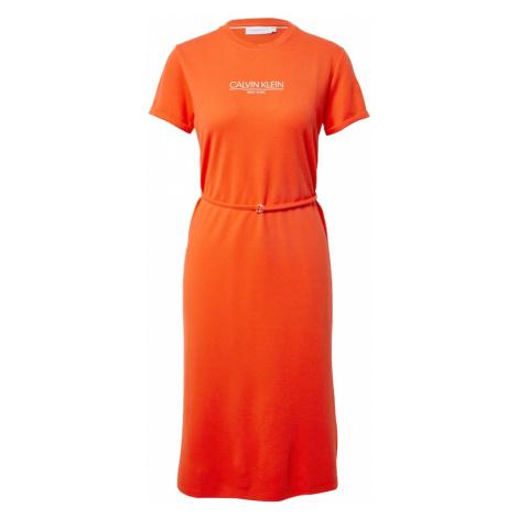 Calvin Klein Letné šaty  oranžovo červená / biela