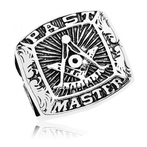 Prsteň z chirurgickej ocele, symboly slobodomurárov a nápis, čierna patina - Veľkosť: 68 mm