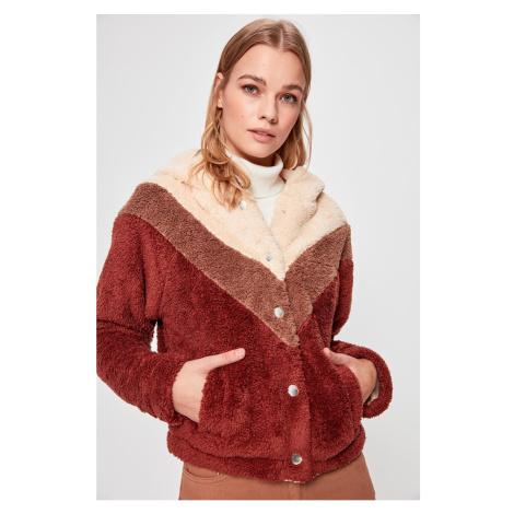 Trendyol Brown Color Block Hooded Plush Coat