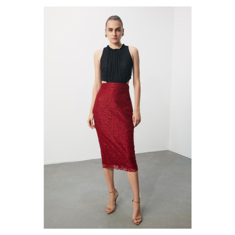 Trendyol Burgundy Pen Lace Skirt