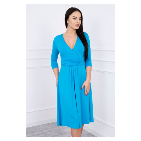 Dress with cut-off under the bust, 3/4 sleeves turquoise