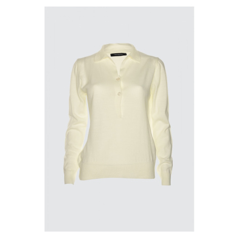 Trendyol Ekru Polo Collar Knit Sweater