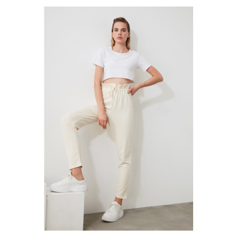 Trendyol White Paperbag Knitted Tracksuit bottom