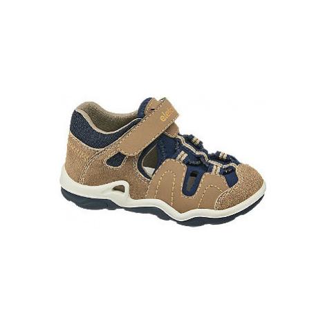 Hnedé detské kožené sandále na suchý zips Elefanten