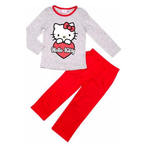 šedo-červené dievčenské pyžamo hello kitty