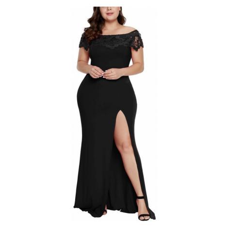 Dámske čierne plus size spoločenské šaty Amadea