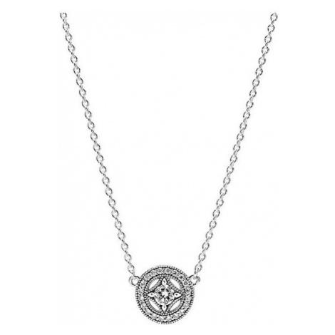 Pandora Strieborný náhrdelník s trblietavým príveskom 590523CZ-45