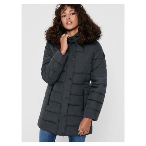 Šedý zimný prešívaný kabát ONLY Luna