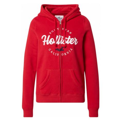 HOLLISTER Tepláková bunda  červená / biela