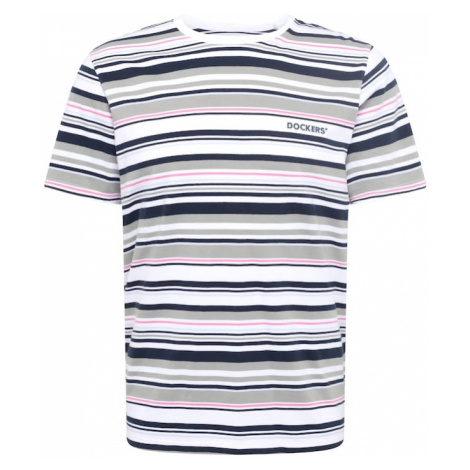 Dockers Tričko  biela / tmavomodrá / ružová / dymovo modrá