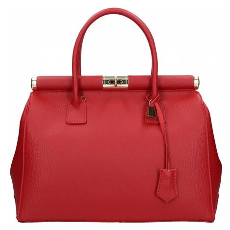 Dámska kožená kabelka Delami Bonny - červená