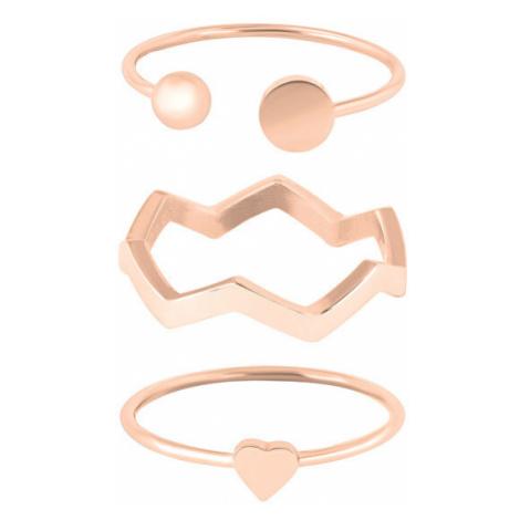 Troli Dizajnová ružovo pozlátená sada oceľových prsteňov mm