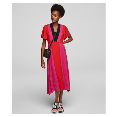Šaty Karl Lagerfeld Pleated Colour Block Dress - Rôznofarebná