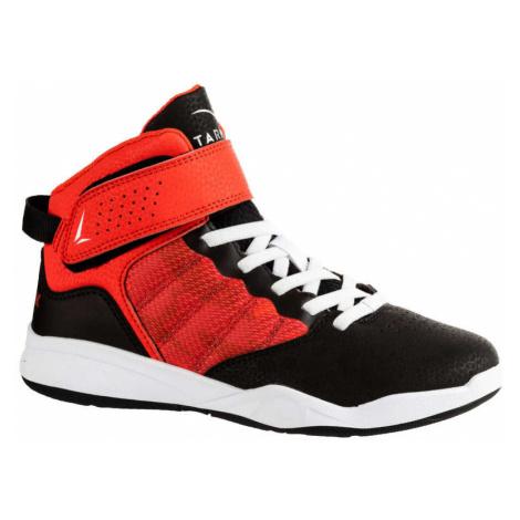 TARMAK Basketbalová obuv SE100 EASY chlapci/dievčatá začiatočníci červeno-čierna ČERVENÁ 33