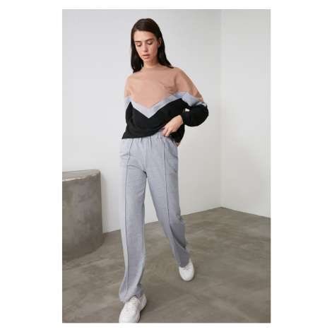 Trendyol Grey Straight Fit Knitted Tracksuit bottom