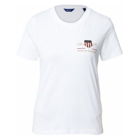 GANT Tričko 'Archive Shield'  biela / tmavomodrá / červená / zlatá