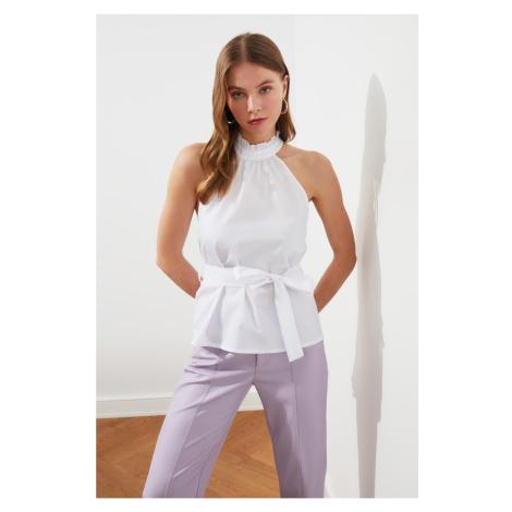 Trendyol White Tie Detail Blouse