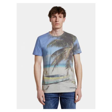 Béžovo-modré pánske tričko Tom Tailor Denim