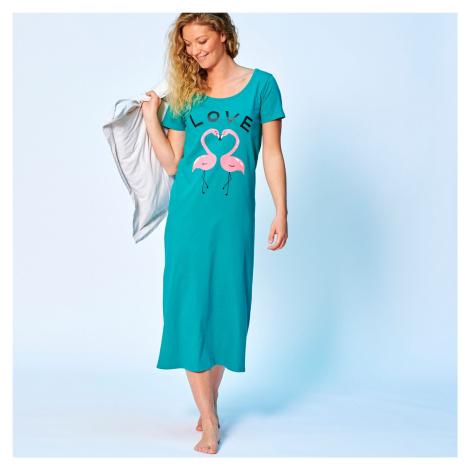 Blancheporte Dlhá nočná košeľa, motív LOVE smaragdová