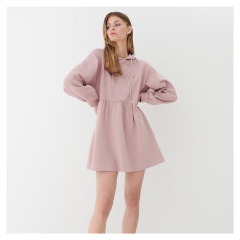 Mohito - Teplákové šaty s kapucňou - Ružová