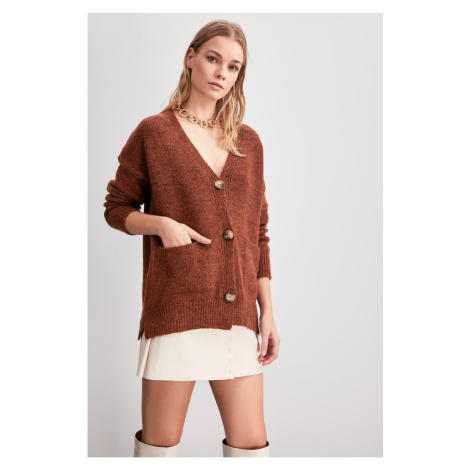 Trendyol Brown Button Detailed Knitwear Cardigan