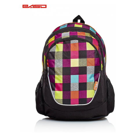 Black school backpack with a colorful checkered pattern