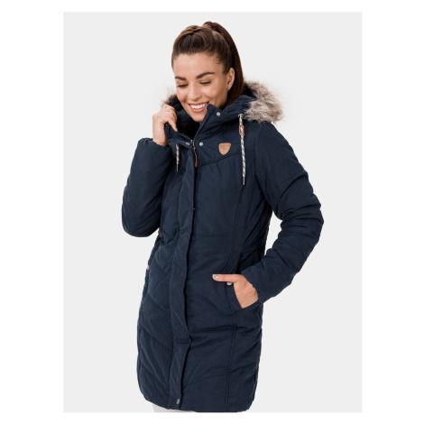 Tmavomodrý dámsky zimný prešívaný kabát SAM 73