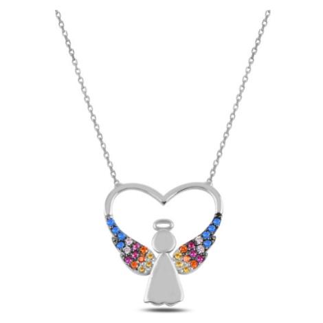 OLIVIE Strieborný náhrdelník SRDCE S ANJELOM 3696